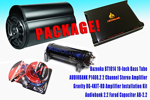 "Complete Package! Bazooka Bt1014 10"" Subwoofer Bass Tube + Audiobank P1400.2 2 Channels Amplifier + Audiobank 2.2 Farad Power Capacitor + Gravity Gr-4Kit-Rd High Performance Amp Installation Kit"