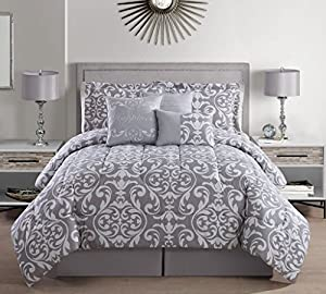 7 Piece Queen Happiness Gray/White Print Comforter Set