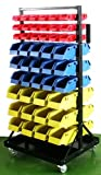 XtremepowerUS Heavy-Duty Rolling Parts Cart with 90 Organizer Bins Picture