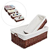 (Set of 4) Fabric Lined Woven Brown Nesting Baskets / Space Saving Storage Organizer Bin Boxes - MyGift®