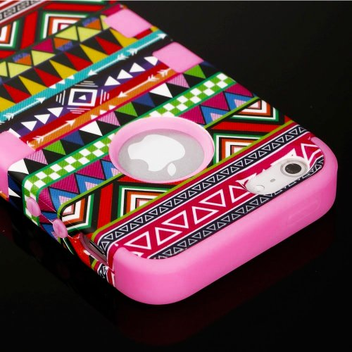 "myLife (TM) Bubblegum Pink - Colorful Tribal Print Series (Neo Hypergrip Flex Gel) 3 Piece Case for iPhone 5/5S (5G) 5th Generation iTouch Smartphone by Apple (External 2 Piece Fitted On Hard Rubberized Plates + Internal Soft Silicone Easy Grip Bumper Gel + Lifetime Warranty + Sealed Inside myLife Authorized Packaging) ""Attention: This case comes grip easy smooth silicone that slides in to yo at Amazon.com"