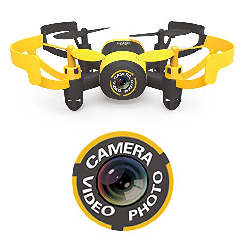 Hasakee-Mini-RC-Helicopter-Drone-24Ghz-6-Axis-Gyro-4-Channels-Quadcopter-With-CameraHeadless-ModeYellow-Bee