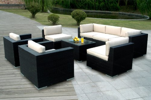 Ohana outdoor patio wicker furniture 8pcs all weather for All weather garden furniture