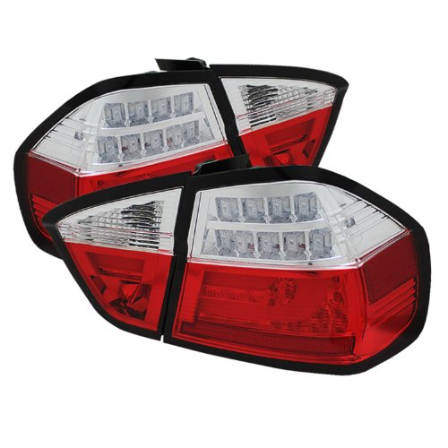 Spyder Auto (Alt-Yd-Be9006-Lbled-G2-Rc) Bmw 3 Series E90 4-Door Red/Clear Light Bar Style Led Tail Light With Indicator - Pair