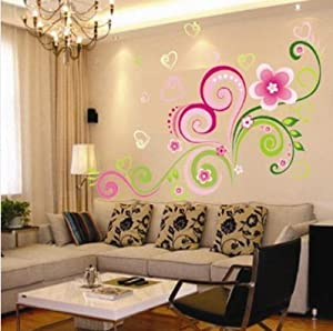 Heart Shaped Flower Vine Wall Sticker Decor Paper Decals Removable Art Kids Children by Other