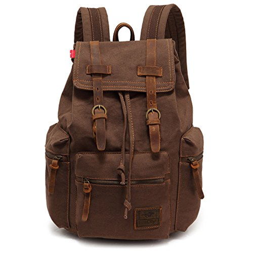 EcoCity Vintage Canvas Backpack Rucksack Schoolbag (brown)