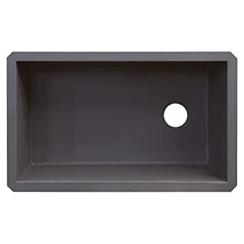 Transolid RUSS3118-17 Radius 19.125-in W x 31.75-in L Granite Single Undermount Kitchen Sink, Grey
