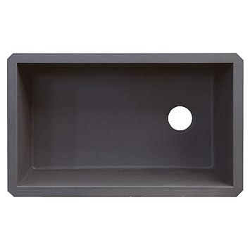 Transolid RUSS3118-17 Radius 19.125-in W x 31.75-in L Granite Single Undermount Kitchen Sink, Grey