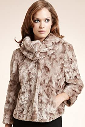 Autograph Faux Fur Large Collar Short Coat