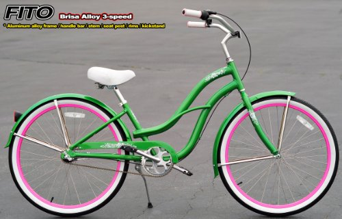 Aluminum Alloy Anti-Rust Frame, Fito Brisa Alloy 3-speed - Apple Green, women's Beach Cruiser Bike Bicycle, Shimano Nexus Equipped