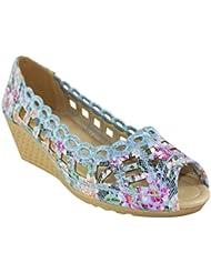 Agave Peeptoe Wedge Heel By Heels & Handles (HH578Blue)