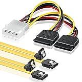 SET - 2x deleyCON 0,5m S-ATA 3 Kabel + 4pin zu 2x SATA Stromadapter - HDD / SSD Datenkabel mit Clip - 1x Stecker gerade zu 1x Stecker 90° Grad Winkel
