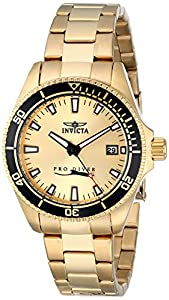"Invicta Women's 15138SYB ""Pro Diver"" 18k Gold Ion-Plated Dive Watch"