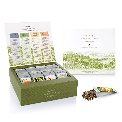 Tea Forté SINGLE STEEPS Loose Leaf TEA CHEST, 28 Different Single Serve Pouches - Black Tea, Green Tea, White Tea, Herbal Tea (Single Serve Green Tea compare prices)