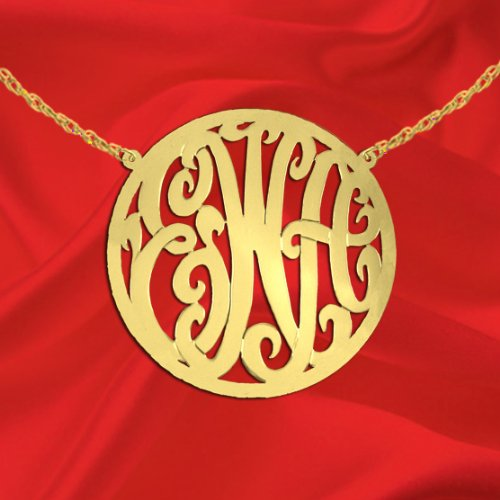 Monogram Necklace 1 1/2 Inch 24K Gold Plated Sterling Silver Handcrafted Cutout In Circle Border Personalized Initial Necklace - Made In Usa