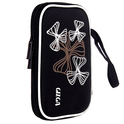 GIZGA Branded 2.5 inch Wavy Graffiti Series - Color: Black; External Portable Hard Disk Drive Carry Cover Protector/ Pouch / Bag/HDD Case
