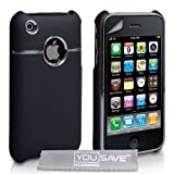 Black And Chrome Hard Hybrid Case For The Apple iPhone 3 / 3G / 3GS With Screen Protector Film And Grey Micro-Fibre Polishing Clothby Yousave Accessories TM