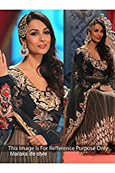 Designer Black ROW SILK & NET Bollywood Replica Dress.