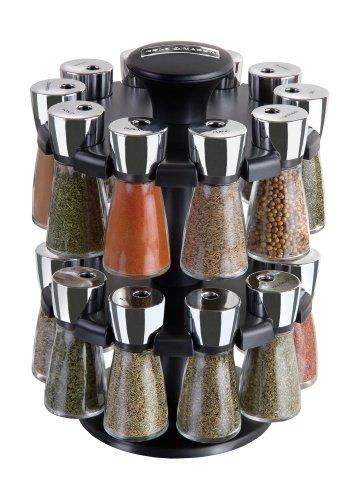 Cole and Mason Herb and Spice Carousel Rack with 20 Glass Jars and Spices, Black