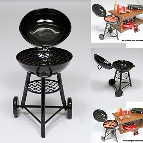 1:12 Black Iron Bbq Grill Miniature Garden Outdoor Doll House Accessory Gift (S)