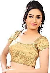Zbuy Designer Gold Brocade Un-stitched Blouse Material