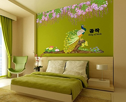 Removable The Living Room Tv Background Wall Sticker Peacock front-804941
