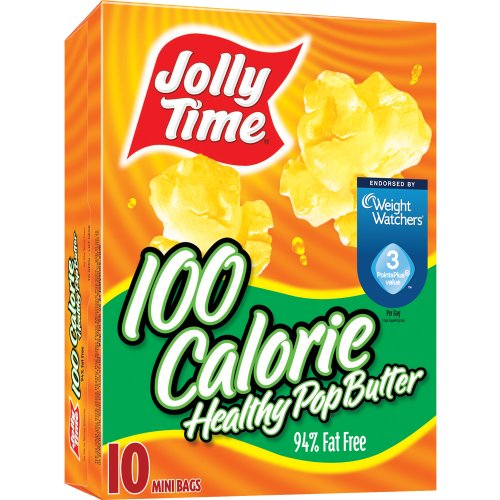 Jolly Time Healthy Pop Butter Flavor Microwave Popcorn, 100 Calorie Mini Bags, 10-Count Boxes (Pack Of 6)