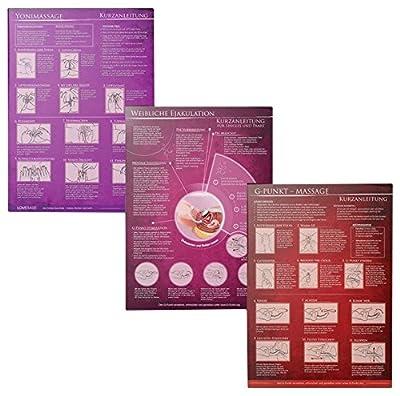 [3er Set] G-Punkt-Massage, Yoni-Massage, Weibliche Ejakulation: Ideal für die erotische Massage [3 Karten DIN A4 - 2seitig, laminiert]