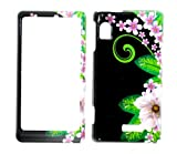 Jungle Flower with Pink Sakura on Black Snap on Hard Protective Cover Case for Motorola Droid 2 A955 + Microfiber Pouch Bag