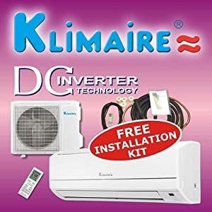 Klimaire 12000btuh 16 SEER inverter mini split ductless a/c air conditioner &#038; heat pump 220V / 60Hz with free installation kit