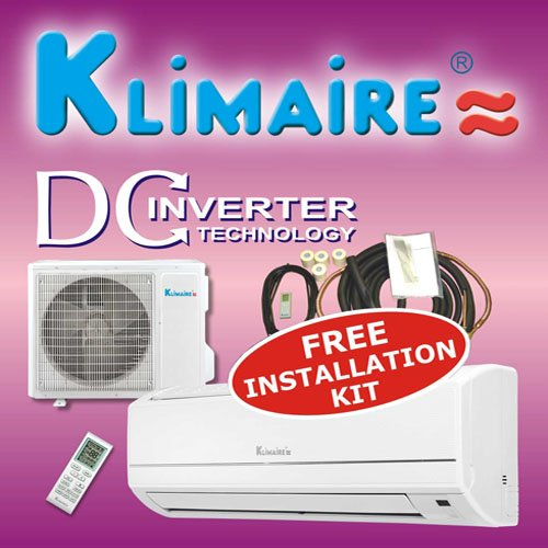 Klimaire 9000btuh 16 SEER inverter mini split ductless a/c air conditioner & heat pump 220V / 60Hz with free installation kit