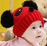 Towallmark 1PC Lovely Baby Kids Girls Boys Stretchy Warm Winter Panda Cap Hat Beanie (Red)