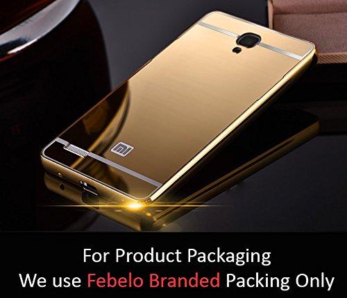 Febelo Branded Luxury Metal Bumper Acrylic Mirror Back Cover Case For Xiaomi Redmi Note 4G / Xiaomi Redmi Note Prime - Gold Plated