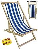Sedia Sdraio Prendisole in legno tela a righe bianca blu per spiaggia campeggio piscina da mare