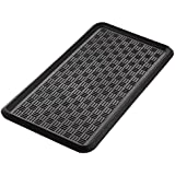 MT BAKER MERCANTILE Cross Check Pattern Boot Tray, 100% Natural Rubber, Black, 32 by 16-Inches