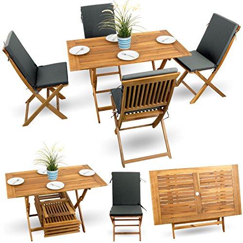 9-tlg-Gartenstuhl-Holz-Balkonset-Terrassen-Set-Bistroset-Balkonmbel-Gartenmbel-Akazie-gelt-4x-Klappstuhl-1x-Klappstuhl-4x-Sitz-Auflagen-anthrazit