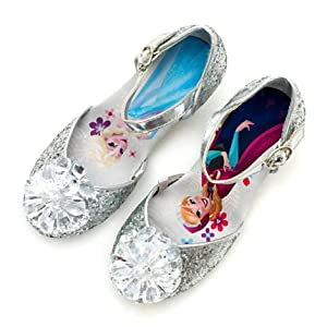 Disney- Frozen Glitter Silver Shoes For Kids / Girls - Satin inner sole features artwork of Anna and Elsa - Girl's Shoes UK size 13 , EU Size 32