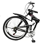 Best Choice Products® 26 Folding Mountain Bicycle 6 Speed Shimano Foldable Bike Black Color