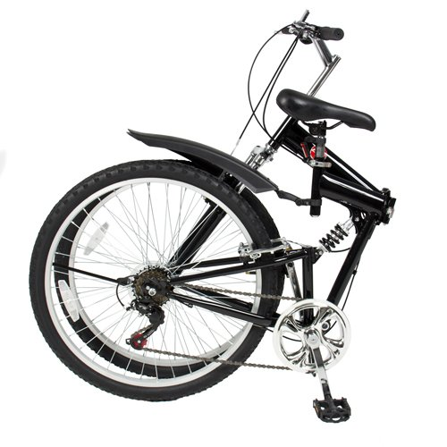 """Best Choice Products 26"""" Folding Mountain Bicycle 6 Speed Shimano Foldable Bike - Black"""