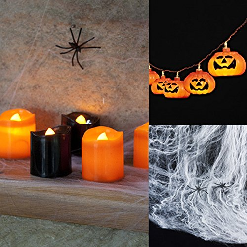 Halloween Deko Set 10er LED Kürbis Lichterkette 6er Set LED Kerzen und Spinnennetz 60g