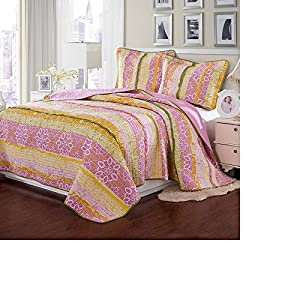 Brandream queen size pink yellow floral - Pink and yellow comforter ...