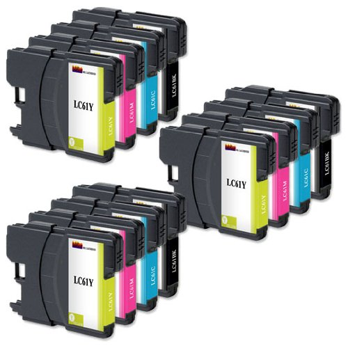Brother LC61 Ink Cartridges Non OEM, 3 Set of 4 Ink Cartridges LC61BK, LC61C, LC61M, LC61Y Compatible Remanufactured