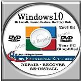 WINDOWS 10 SYSTEM REPAIR & RE-INSTALL 32 Bit & 64 Bit BOOT DISK: Repair & Re-install any version of Windows 10 Home, Professional and Enterprise (Repair-Restore-Reinstall)