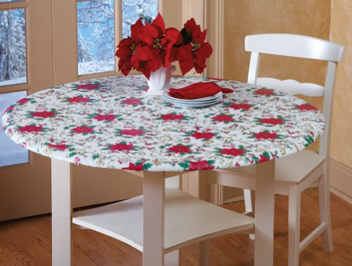 Fitted Elastic Holiday Poinsettia Table Cover Linens Small