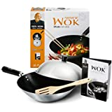 Ken Hom Everyday 31cm Carbon Steel Non-Stick 4 Piece Wok Set with Lid