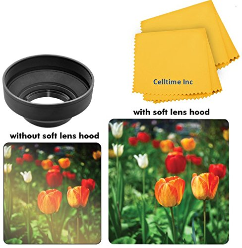 77Mm Professional Collapsible Rubber Hood For Pentax Smcp-Da* 200Mm F/2.8 Ed (If) Sdm And Pentax Zoom Super Wide-Telephoto Smcp-Da* 16-50Mm F/2.8 Ed Al (If) Sdm Lenses + Ct Microfiber Cleaning Cloth