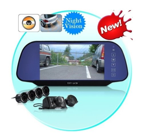 """New FASHION 7"""" inch TFT LCD Monitor Color Screen Complete Car Backup Reversing Set Rearview Camera, 4 Parking Sensors, Rearview Mirror VCR"""