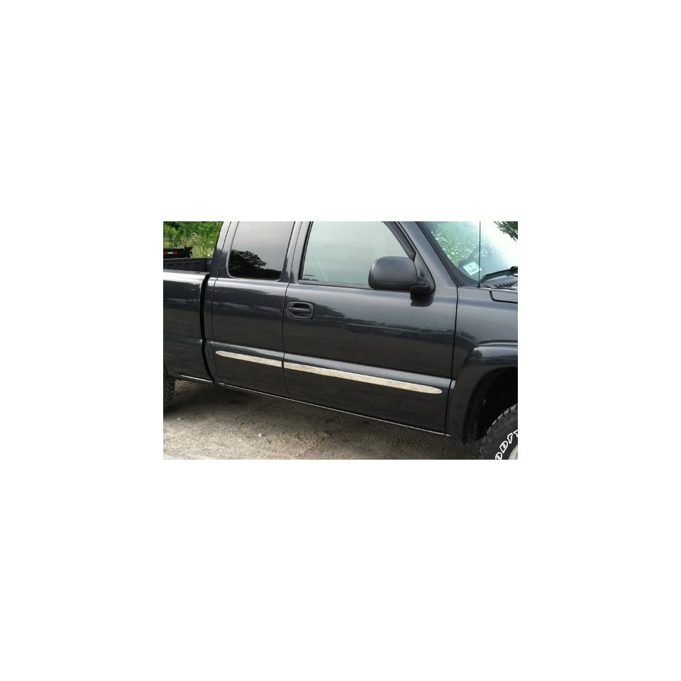 Made In USA 1999 2006 Chevy Silverado 4Dr Extended Cab Rocker Panel Chrome Stainless Steel Body Side Moulding Molding Trim Cover 1.5 Wide 4PC