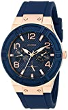 GUESS Women's U0571L1 Sporty Rose Gold-Tone Stainless Steel Watch with Multi-function Dial and Blue Strap Buckle
