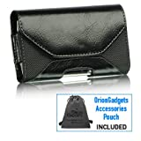 Horizontal Dream Leather Executive Pouch Case for BlackBerry Bold 9900 (Black) (Includes OrionGadgets Accessories Pouch)